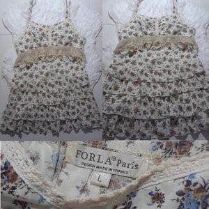 ForLA Crochet Lace Tiered Ruffles Dress-Size L